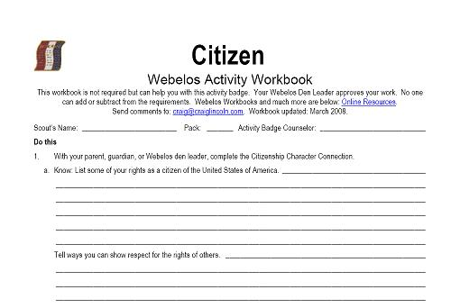 Worksheets Citizenship Worksheets citizen worksheet delibertad webelos delibertad
